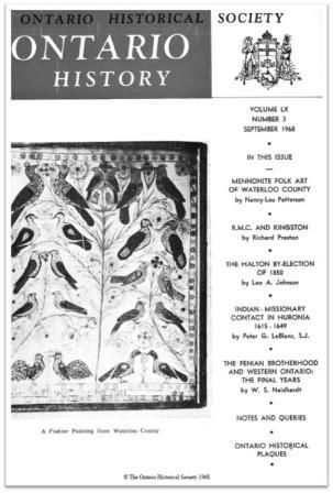Ontario History 1968 v60 n3 September Cover