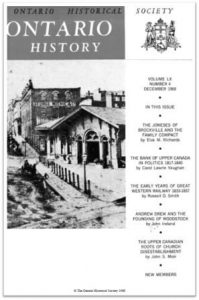 Ontario History 1968 v60 n4 December Cover