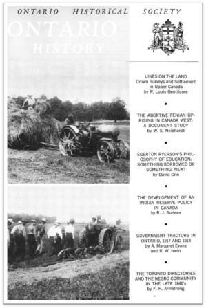Ontario History 1969 v61 n2 June Cover