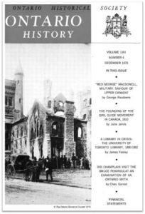 Ontario History 1970 v62 n4 December Cover