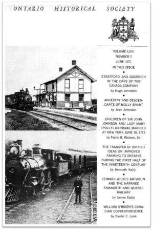 Ontario History 1971 v63 n2 June Cover