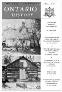 Ontario History 1973 v65 n3 September Cover