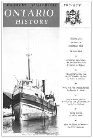 Ontario History 1975 v67 n4 December Cover