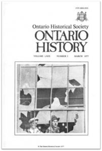 Ontario History 1977 v69 n1 March Cover