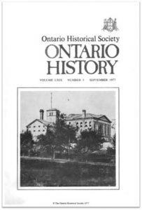 Ontario History 1977 v69 n3 September Cover