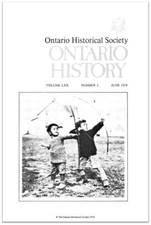 Ontario History 1978 v70 n2 June Cover