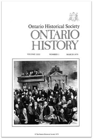 Ontario History 1979 v71 n1 March Cover