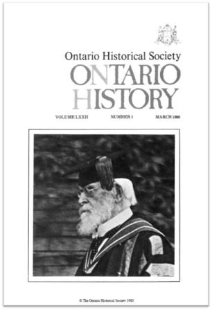 Ontario History 1980 v72 n1 March Cover