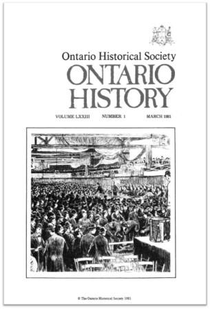 Ontario History 1981 v73 n1 March Cover