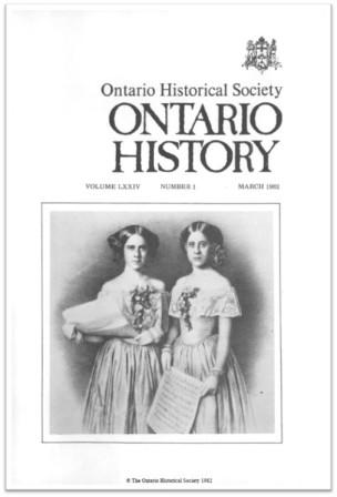 Ontario History 1982 v74 n1 March Cover