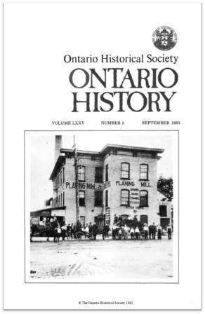 Ontario History 1983 v75 n3 September Cover