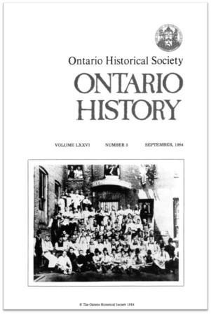 Ontario History 1984 v76 n3 September Cover