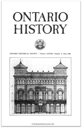 Ontario History 1986 v78 n2 June Cover