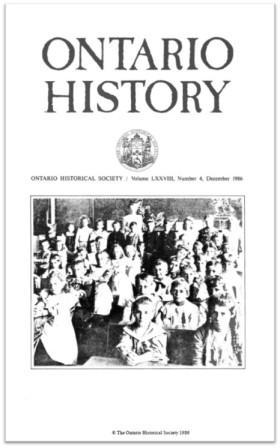 Ontario History 1986 v78 n4 December Cover