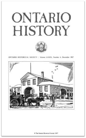Ontario History 1987 v79 n4 December Cover