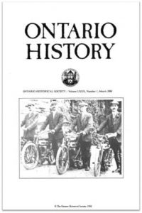 Ontario History 1988 v80 n1 March Cover