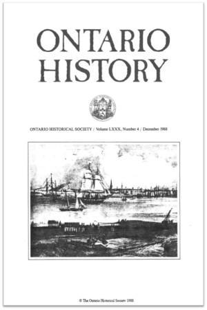 Ontario History 1988 v80 n4 December Cover