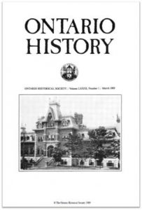 Ontario History 1989 v81 n1 March Cover