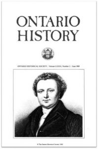Ontario History 1989 v81 n2 June Cover