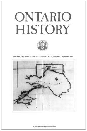Ontario History 1989 v81 n3 September Cover