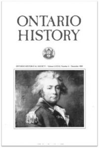 Ontario History 1989 v81 n4 December Cover
