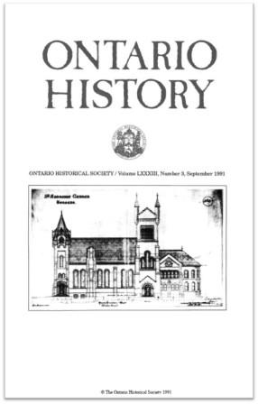 Ontario History 1991 v83 n3 September Cover