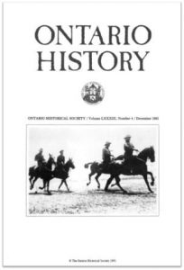 Ontario History 1991 v83 n4 December Cover