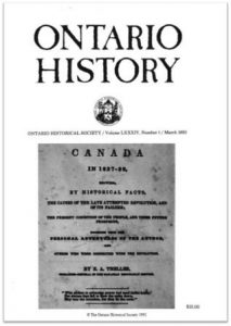 Ontario History 1992 v84 n1 March Cover