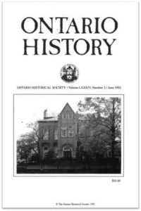 Ontario History 1992 v84 n2 June Cover
