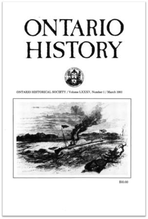 Ontario History 1993 v85 n1 March Cover