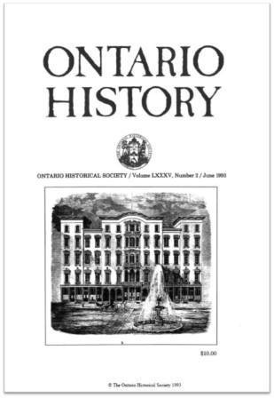 Ontario History 1993 v85 n2 June Cover