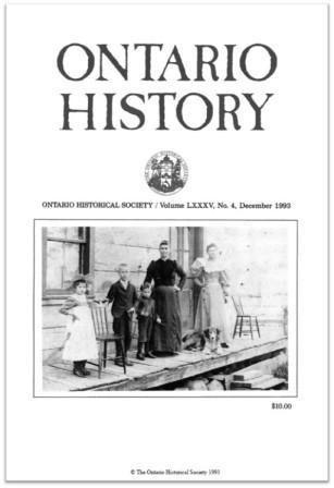 Ontario History 1993 v85 n4 December Cover