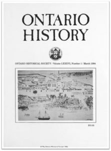 Ontario History 1994 v86 n1 March Cover