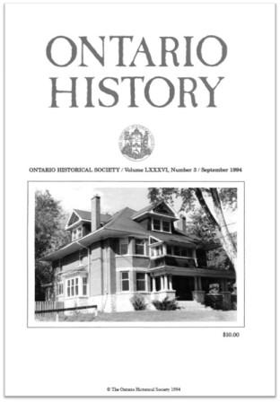 Ontario History 1994 v86 n3 September Cover