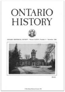 Ontario History 1994 v86 n4 December Cover