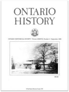 Ontario History 1995 v87 n3 September Cover