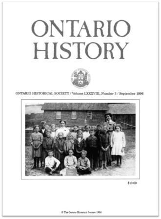 Ontario History 1996 v88 n3 September Cover