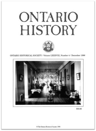 Ontario History 1996 v88 n4 December Cover