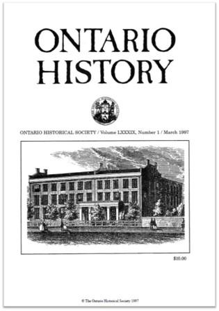 Ontario History 1997 v89 n1 March Cover