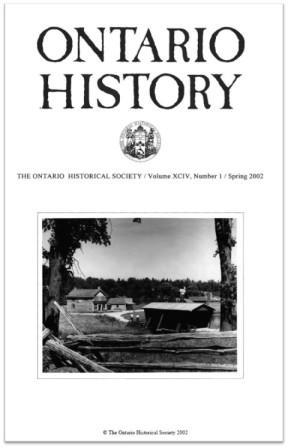 Ontario History 2002 v94 n1 Spring Cover