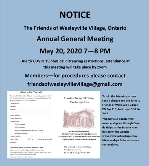 Friends of Wesleyville Village 2020 Annual General Meeting