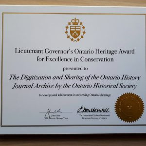 OHS Wins Lieutenant Governor's Ontario Heritage Award for Excellence in Conservation