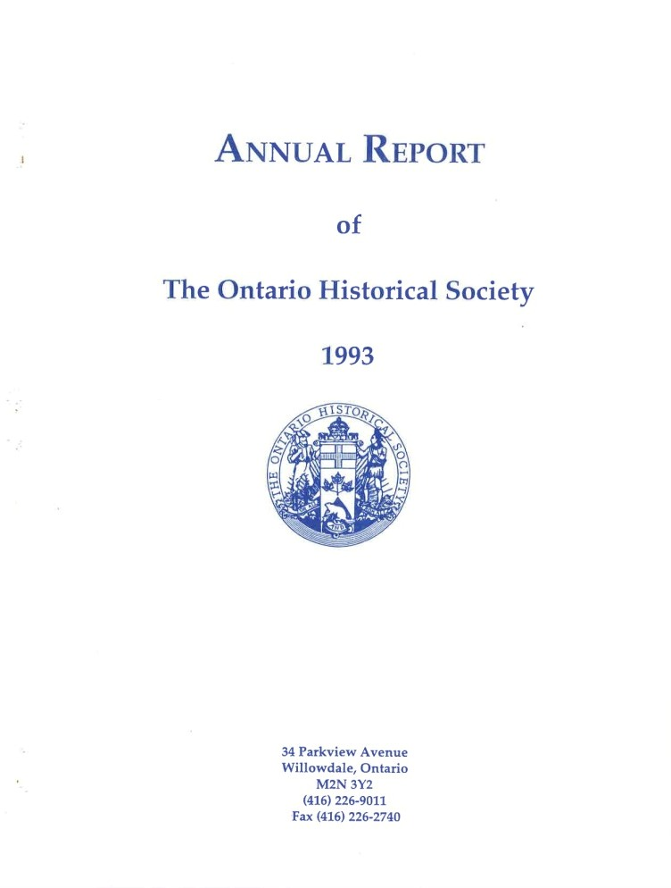 1993 OHS Annual Report Cover