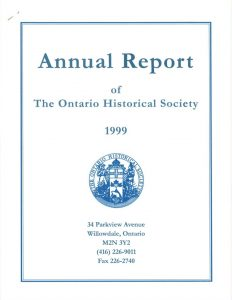1999 OHS Annual Report Cover