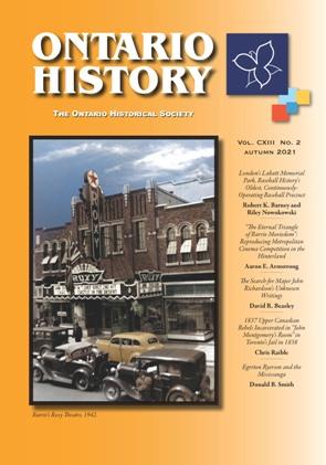 Ontario History Autumn 2021 Cover